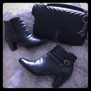 Easy spirit belt detail leather ankle boots heel